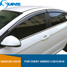 smoke Car Side Window Deflectors For CHERY Arrizo 3 2015 2016 2017 2018 Sun Shade Awnings Shelters Guards accessories SUNZ