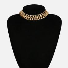Punk Rock Aluminium chaîne collier ras du cou pour les femmes Chocker couches lien colliers briller léger bijoux clavicule déclaration
