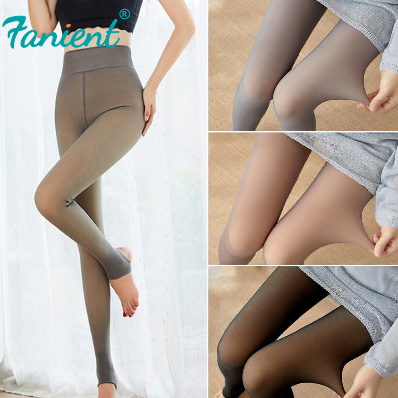 Tools Accessories Flawless Legs Fake Translucent Warm Fleece Pantyhose Tight Stocking Toiletry Kits Black Skin Coffee Stockings