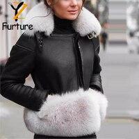 Luksusowe zimowe damskie płaszcz z prawdziwego futra z naturalne futro z lisa kołnierz mankiety zima krótka skórzana kurtki odzież wierzchnia ciepła, Slim futra