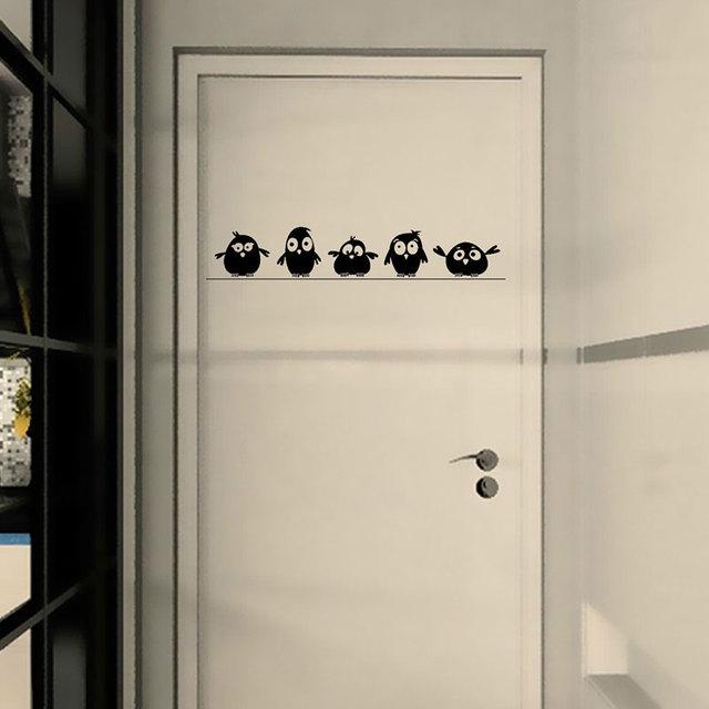Cute 5 Little Birds on the Wire Wall Stickers Door Stickers for Kids Room Living Room Art Decals Cartoon Animal Waterproof Vinyl 4