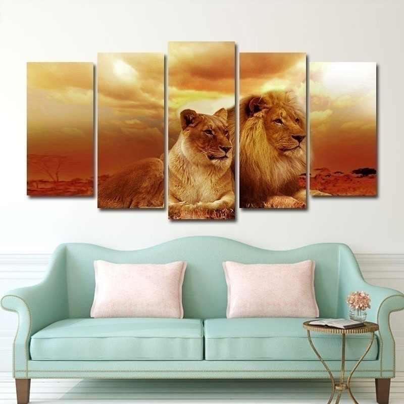 5 tấm Safari Sư Tử và Sư Tử Trong Hoàng Hôn trang Treo Tường Động Vật Tranh Vải In Hình Chi Tiết Gicoly Treo Tường Hình Ảnh Cho Gia Đình trang trí