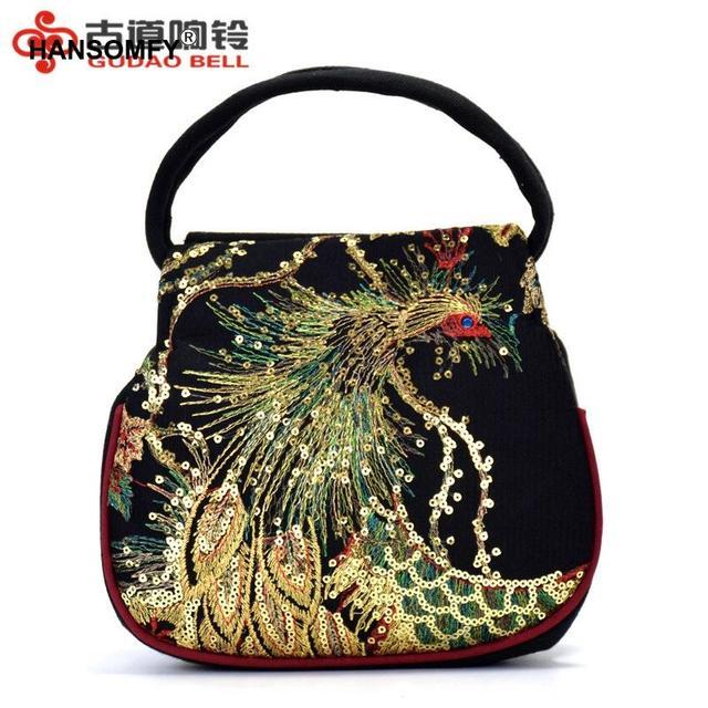 ร้อนขายชาติพันธุ์เย็บปักถักร้อยกระเป๋าปักปักนกยูง MINI กระเป๋าถือผู้หญิงจัดส่งฟรีกระเป๋าถือ