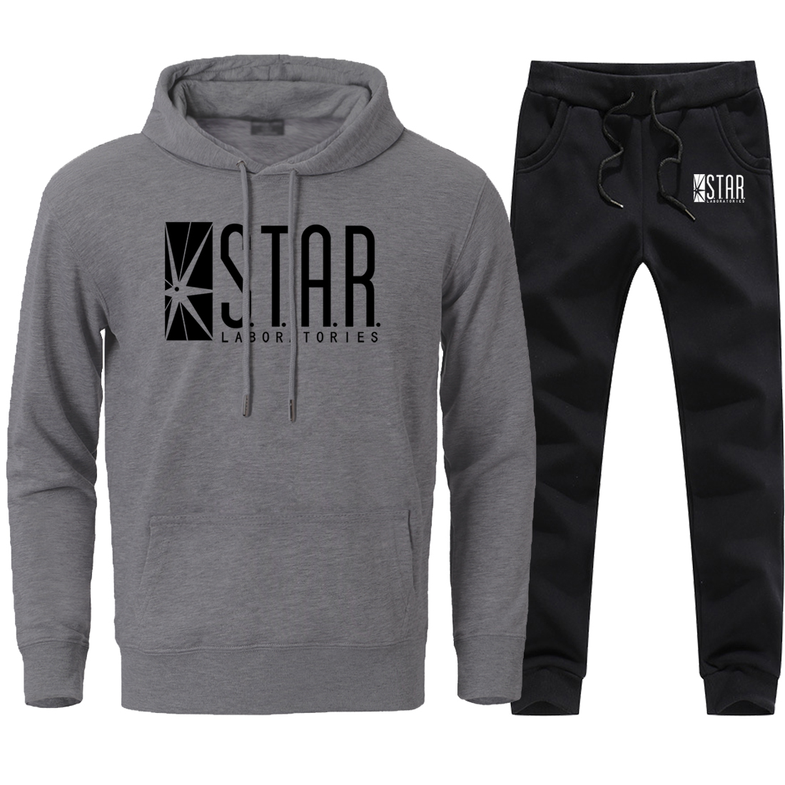 Star Labs Sportswear Tracksuits For Man Autumn Winter Fleece Warm Hoodies Pullover + Full Length Pant 2020 Hot Sell Fitness Suit