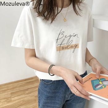 Mozuleva Casual O-neck list drukuj kobiety T-shirt 2020 lato krótki rękaw luźna kobieta podstawowe topy koszula damska Tees 100 bawełna tanie i dobre opinie COTTON REGULAR Suknem WOMEN NONE Na co dzień Osób w wieku 18-35 lat LY4222