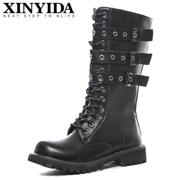 Autumn Winter New Arrival Mid-Calf Men Martin Boots Buckle Strap Personality Casual Work Boots Fashion Army Boots Men Size 38-45