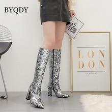 купить BYQDY Sexy Knee High Boots Woman Long Boots Snake Print Women Winter Short Plush Shoes Zipper Thick Heels Patent Leather Shoes дешево