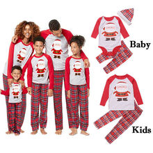Комплект из 2 предметов; одинаковые рождественские комплекты для семьи с Санта-Клаусом; футболка с длинными рукавами; комбинезон+ длинные штаны в клетку; Пижама