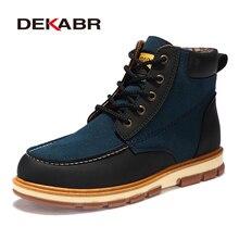 DEKABR marka yeni moda Pu deri erkek botları rahat erkek ayakkabısı yarım çizmeler kısa peluş kış sıcak ayakkabı erkekler boyutu 39 ~ 46