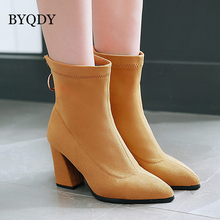 BYQDY Sexy Flock Women Boots Autumn Winter Thick Heel Warm Pointed Toe Side Zipper Ankle Hosiery  Russian Big Size 34-48