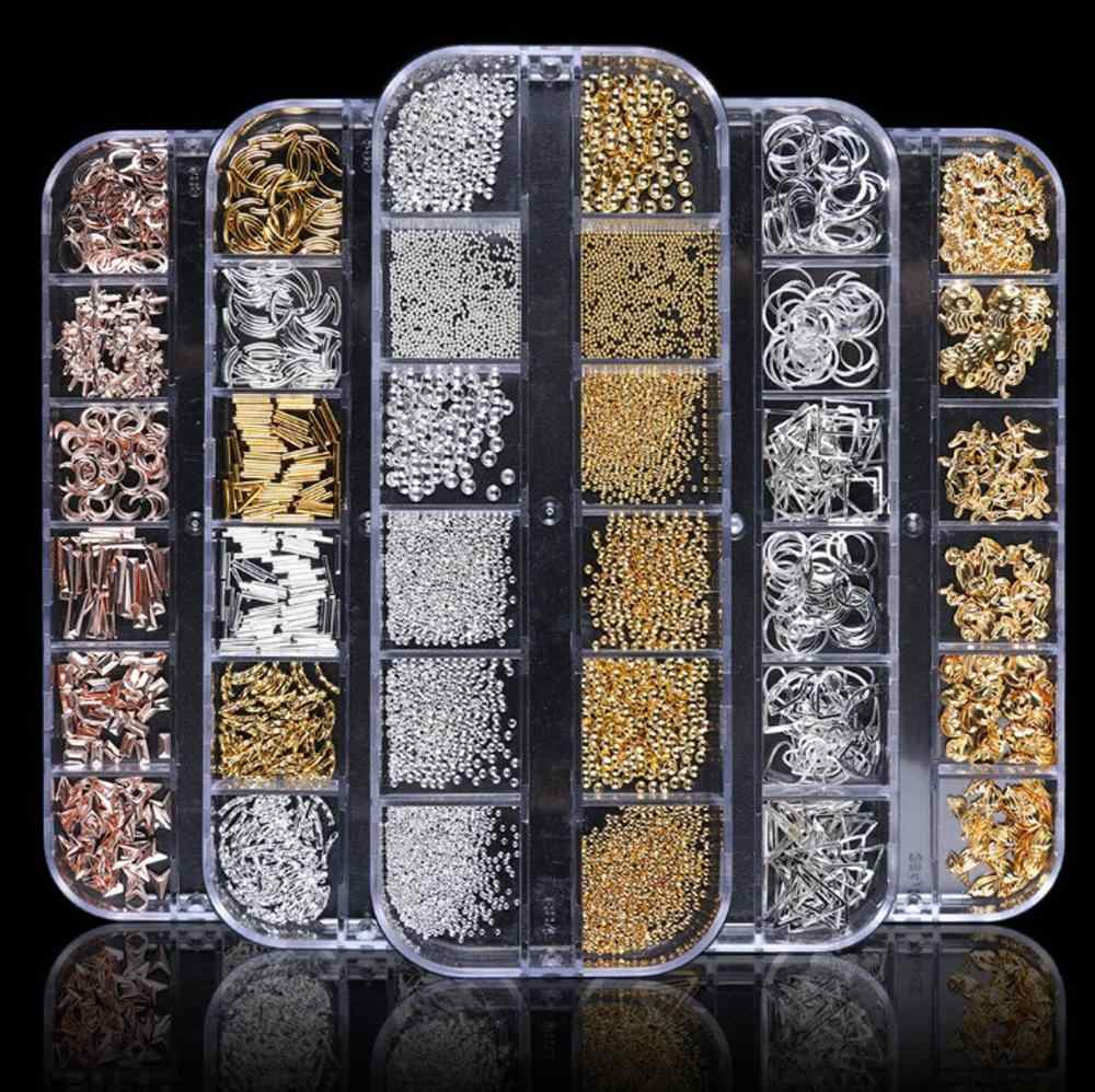 12 größe/form 1 Box Nagel Metall Nieten Charme 3D Nail art Dekoration Niet Nagel Perlen, metall Nagel Patch, Nail art Zubehör,