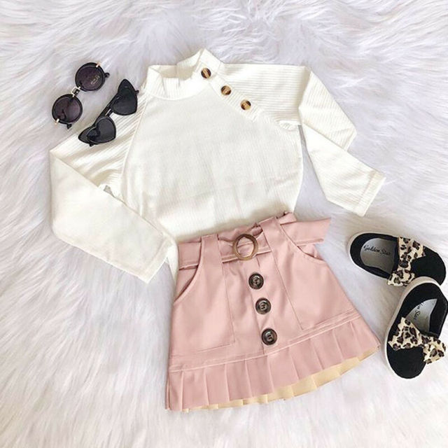 Toddler Girl Clothes Long Sleeves Knit Top Mini Skirt Set Toddler Girl Spring Fall Winter Outfit Clothing 1-6T