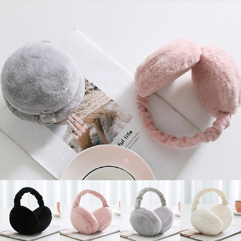 Foldable Unisex Knitted Thicken EarMuffs Winter Faux Fur Warm Plus Ear Cover EarMuff Women Men Soft Earflap Adult Earmuffs