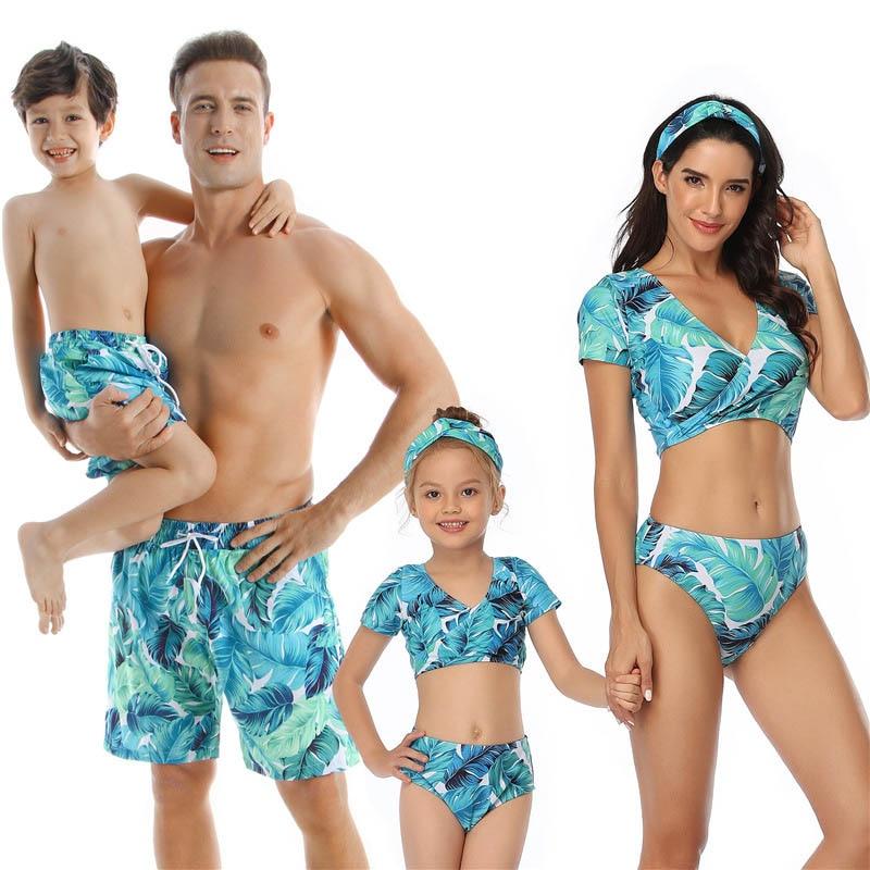Family Matching Swimwear Blue Print Swimsuit Mother Daughter Swimwear Bikini Beachwear Swimming Trunks Men Kids Bathing Suit