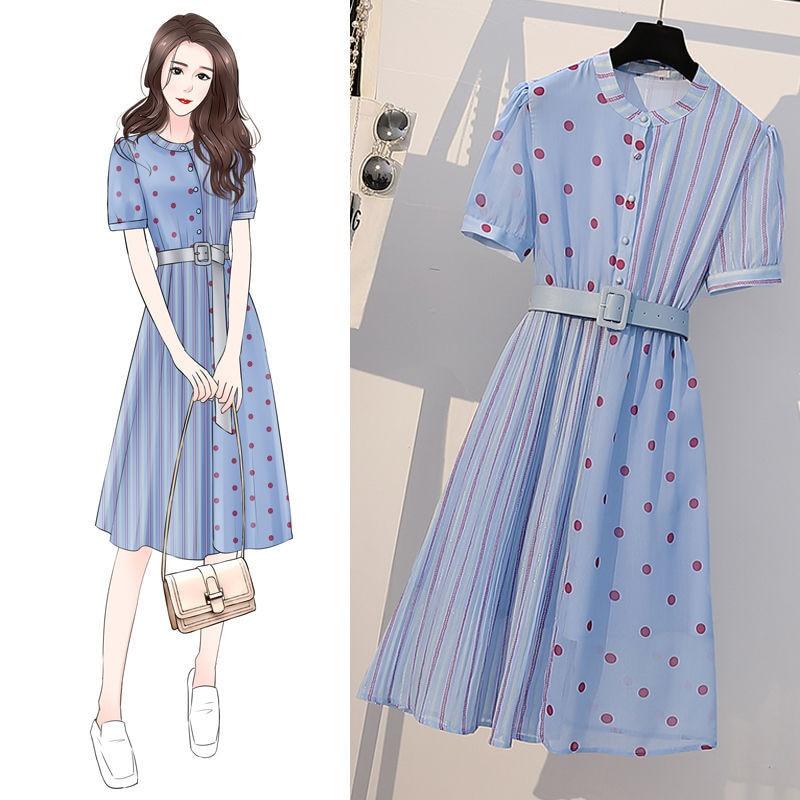 Women's Spring Summer Style Chiffon Dress Women's Elegant Button Short Sleeve Sashes Polka Dot Casual Dress SS1948