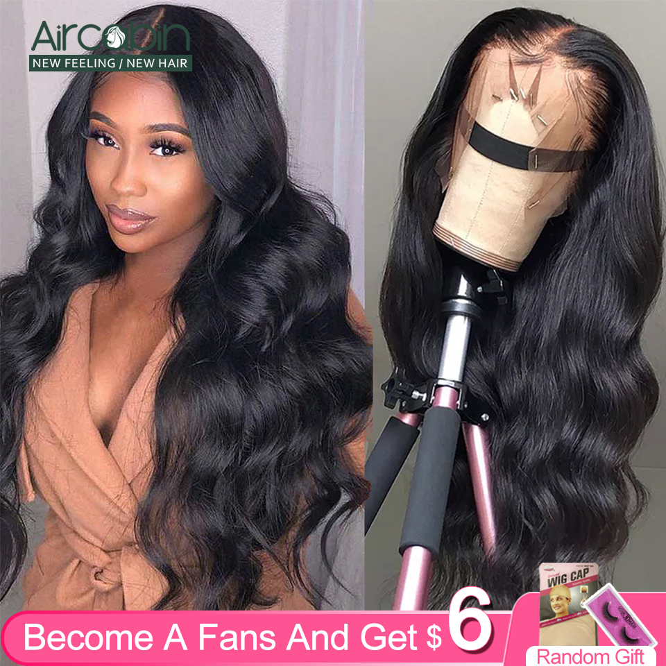 Aircabin Body Wave Lace Frontal Closure Wigs Brazilian Remy Human Hair Glueless Deep Part 30 Inch Long Wigs For Black Women