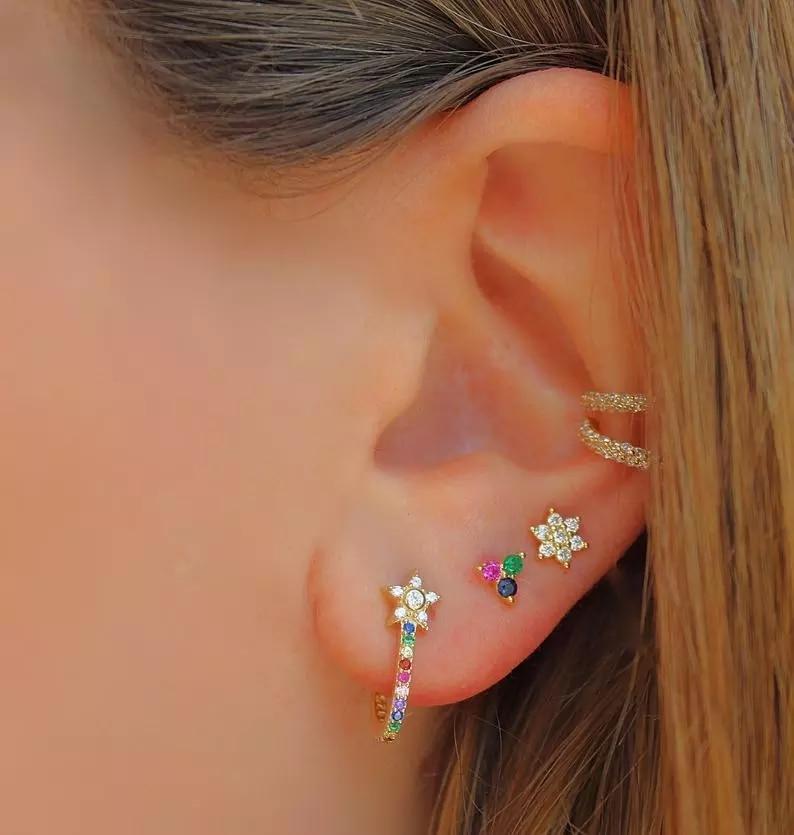 Magnifique Multi-Color Hexagonal Opalite pierre Boucles d/'oreilles nouveau dans boîte cadeau #JE1018
