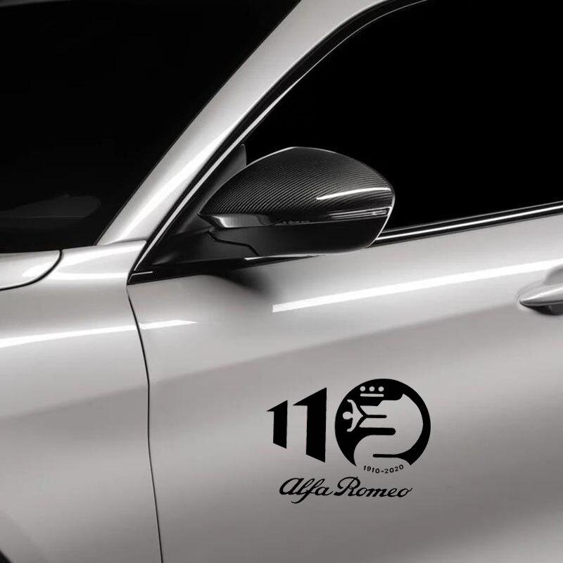 Para Alfa Romeo 110th aniversario pegatinas de coche PVC calcomanía de estilo para Alfa Romeo 4C Giulia Giulietta 159 156 MITO Stelvio 147 GT