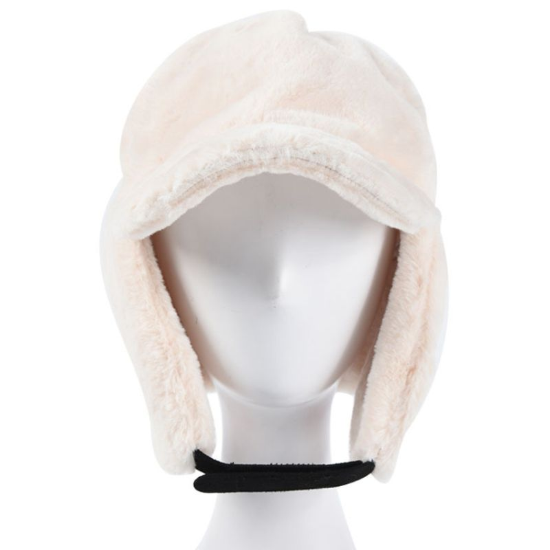 Women Men Winter Fluffy Plush Thick Warm Earflap Baseball Cap Solid Color Adjustable Packable Snow Skiing Windproof Trapper Hat