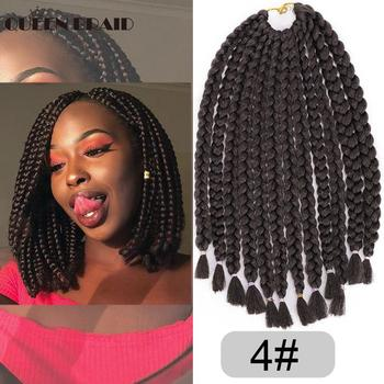 QUEEN BRAID 14 Inch Long Box Braids Crochet braid 12 Strands Ombre Synthetic Braiding Hair Extension for Women 6 Color Availabl