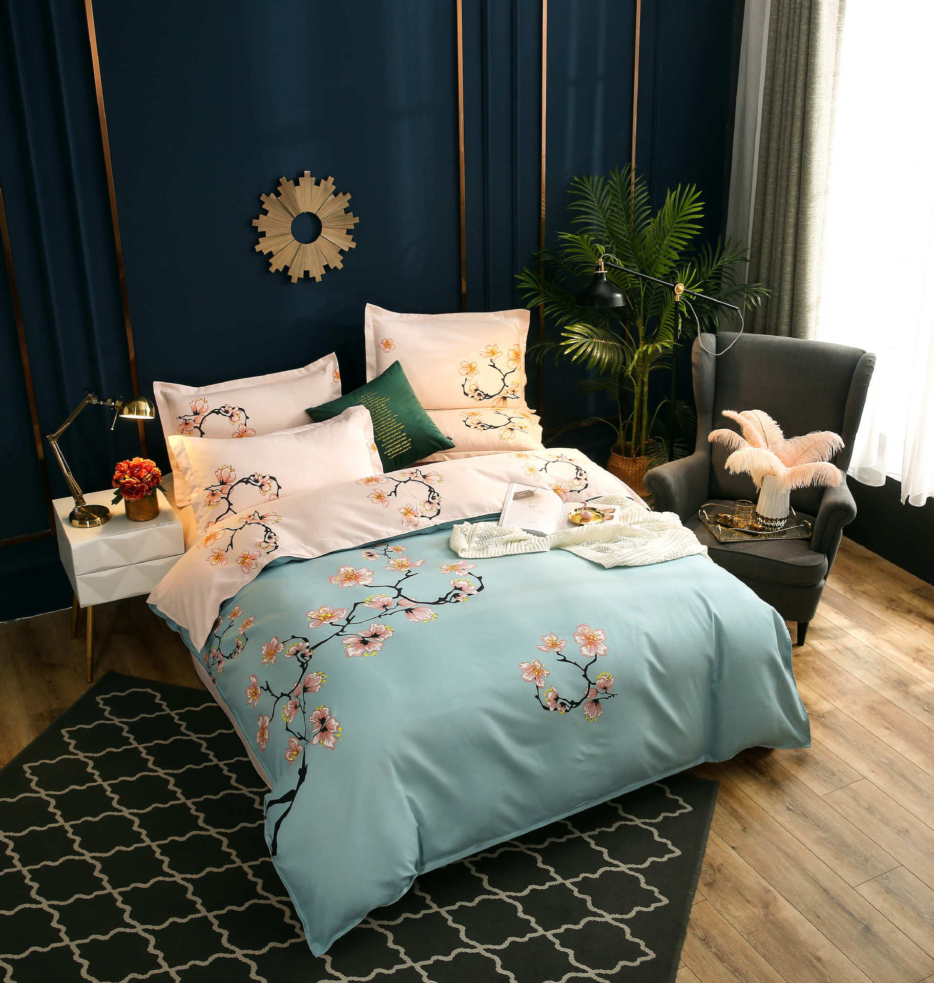 New Style AB Version Of Tribute Cotton Version Of The Flower Dyed Comfortable Wear-Resistant Soft Four-piece Set Bedding Article