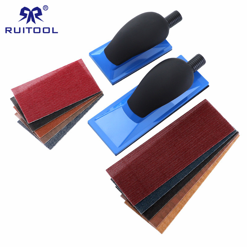 5 Inch/8 Inch Sanding Block With 5pcs Sandpaper Set Dust Free Hand Sanding Pad For Polishing Car Wood Abrasive Tools