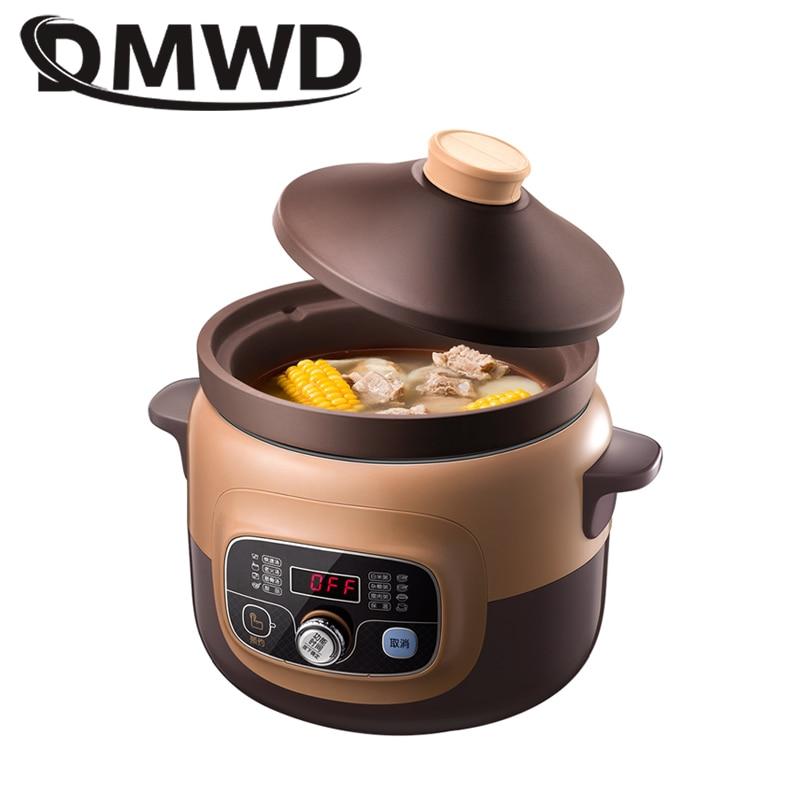 DMWD Автоматическая электрическая медленная Варка, фиолетовый песочный бытовой кастрюль, высокое качество, Паровая тушенка, керамический ка
