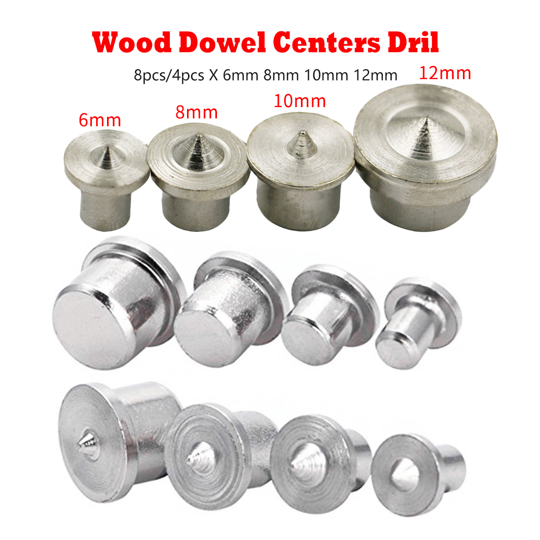 8pcs/4pcs Solid Wood Dowel Locator Center Points Pin Dowel Drill Bit For Woodworking 4mm 6mm 8mm 12mm Wood Drill