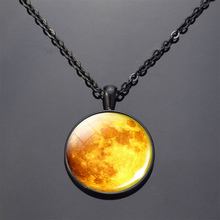 Black Necklace Full Moon Necklace Nebula Pendant Solar System Glass Cabochon Pendant Galaxy Space Astronomy Planet Gift solar system moon earth mars jupiter planet necklace silver chain glass cabochon necklace flower pendant outer space jewelry