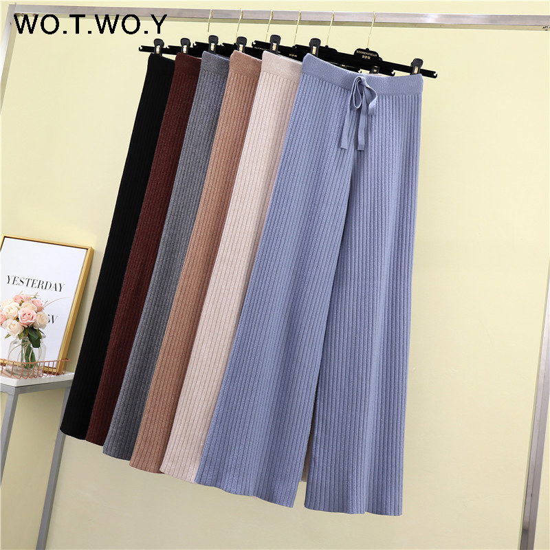 WOTWOY Autumn Winter Basic Knitted Wide Pants Women 2019 Casual Rib Mid Elastic Waist Female Pants Straight Women Trousers