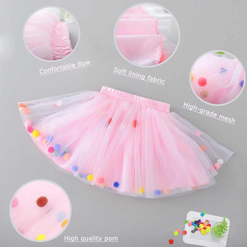Gonna Tutu in Tulle multistrato per bambini estate 2020 Mini abito principessa Pom Pom colorato abbigliamento per bambini Pettiskirt abiti da ragazza