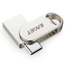 EAGET CU3 USB Flash Drive 32GB OTG Metal Waterproof Pen Drive Key 64GB Type C pendrive Mini Flash Drive Memory Stick 16GB
