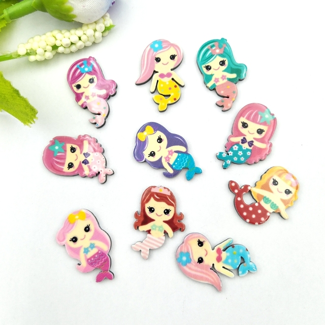 20pcs Lovely Colorful mix Various Mermaid For Home Wedding Decor Crafts Making Scrapbooking DIY Hair Bow Center 4
