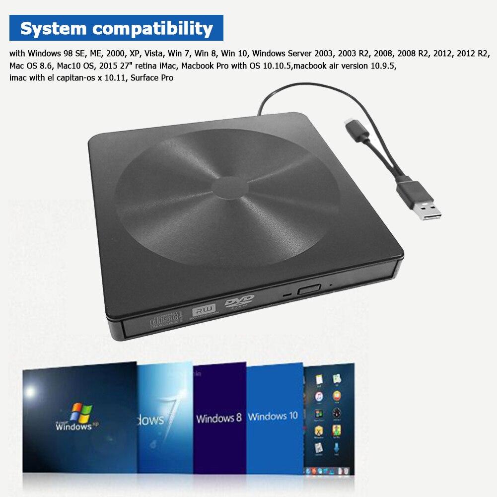 External CD Drive Ultra Slim USB 3.0 Optical Drive USB Type C CD DVD ROM Burner DVD ROM Portatil Lector DVD Externo