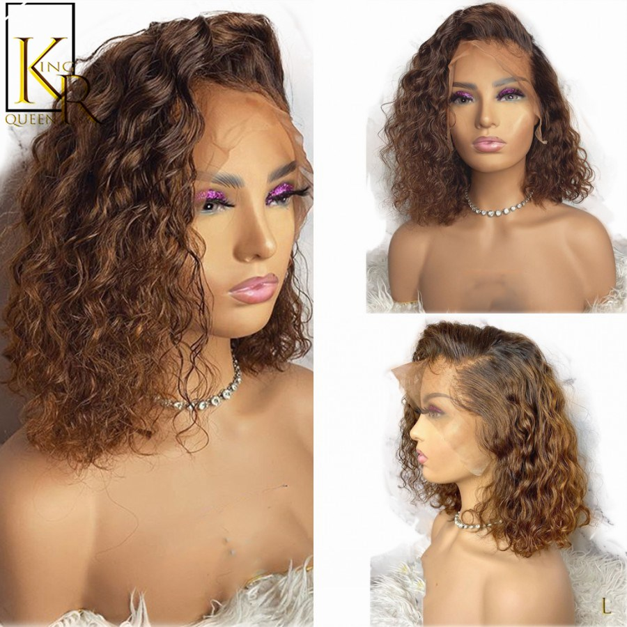 Ombre T1B/27 Curly Short Bob 13X4 Lace Front Wig 130% Brazilian Remy Human Hair Wigs Natural Pre Plucked Bleached VS BOB