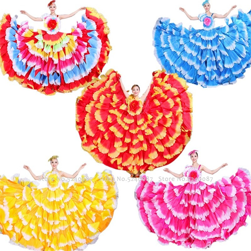 Spanish Flamenco Dress Stage Gypsy Skirts Woman Spain Belly Dance Cosplay Costume Big Petal Chorus Performance Party Wear Outfit