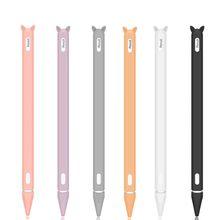 Cap-Holder Pencil Nib-Cover Protective-Case-Skin Silicone For iPad Cute Apple 2 Cat-Ear-Anti-Scroll