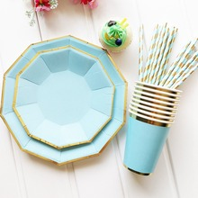 Disposable Plates Party Tableware Paper Straw Cup Happy Birthday Decoration Kids Baby Shower Decor