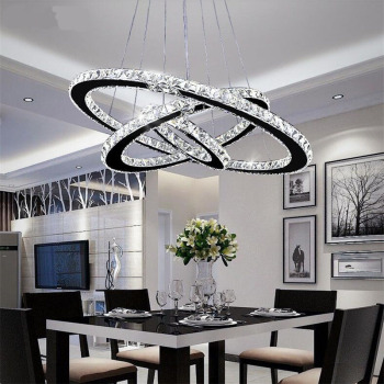Modern LED Crystal Ring Chandelier Lighting Chandeliers Ceiling Lustre Hanging Light Luminaire Chandeliers Light modern chandeliers lights led crystal candle chandelier murano venetian style chandeliers multi tier chandelier crystal pendants