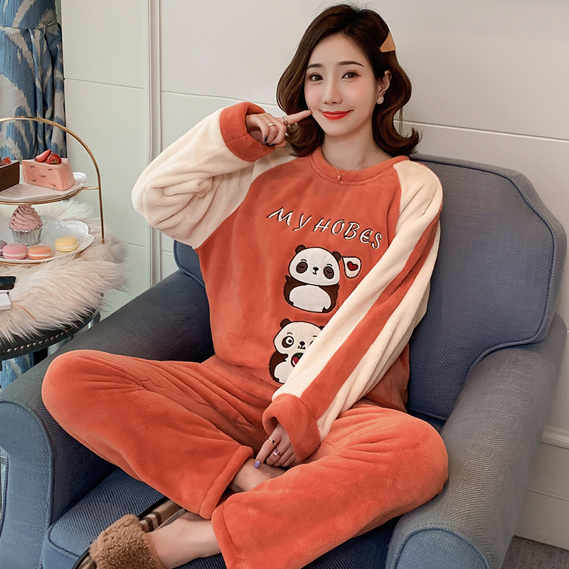 Winter Coral Velvet Round Neck Pullover Orange Long-sleeved Pajamas Women Sweet Cute Panda Warm Home Clothes Set