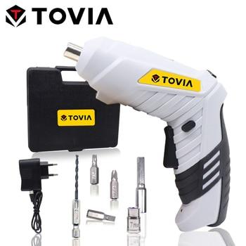 цена на TOVIA 3.6V Electric Hand Screwdriver USB Cordless Screwdriver Lithium Foldable Screwdriver Battery with LED Light