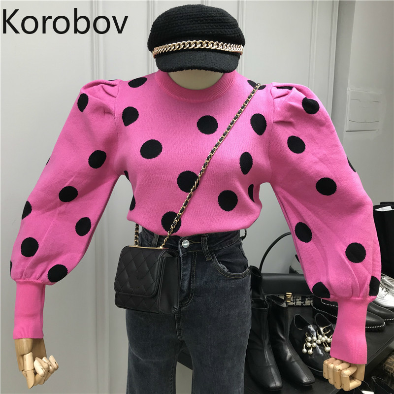 Korobov Fashion Women Hit Color Polka Dot Pullovers Korean Puff Sleeve Sueter Mujer Casual O Neck Short Sweaters 79418