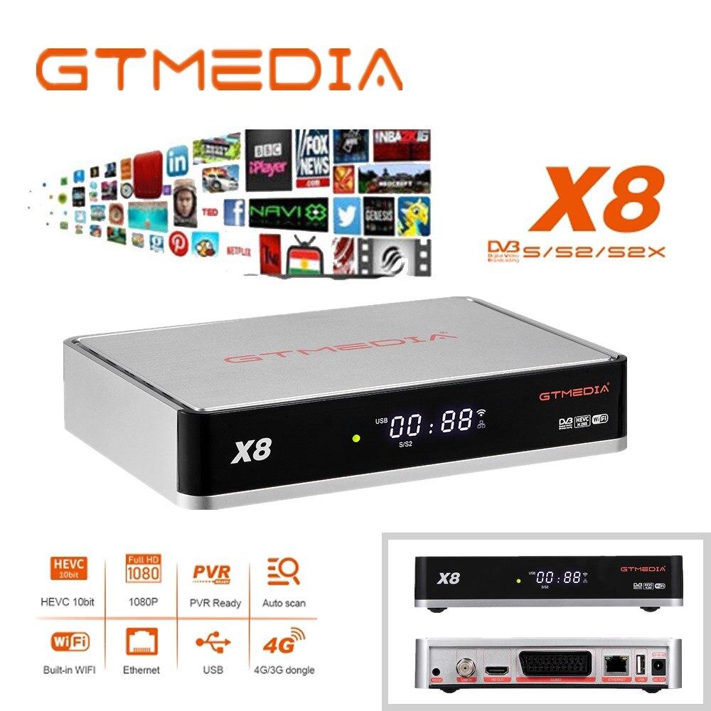 Full HD Gtmedia x8 DVB-S/S2/S2X FTA спутниковый прием встроенный Wifi H.265 gtmedia v8 uhd обновление с gtmedia v8 nova