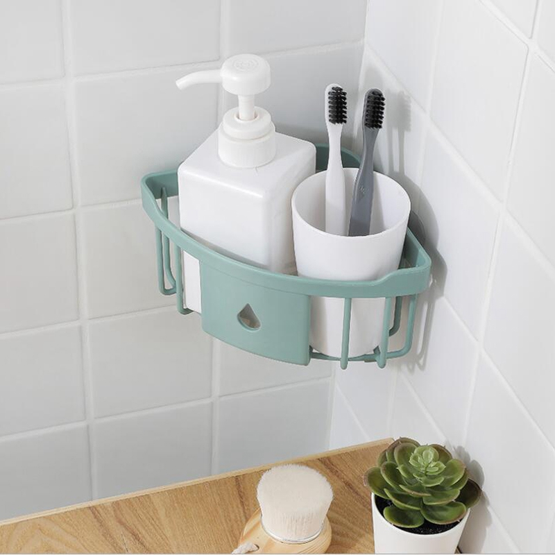 2Pcs Bathroom Shelf Tripod Powerful Wash Shelf Toilet Storage Rack Bathroom Corner Wall Hanging Locker Kitchen Storage Rack|Storage Shelves & Racks| |  - title=