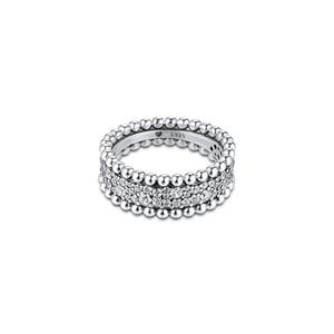 Image 2 - CKK bague perlée pavé anneaux femmes Anel Feminino 100% 925 bijoux en argent Sterling Anillos Mujer mariage bagues pour fiançailles