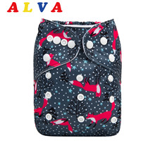 ALVABABY Pocket Diaper New Printed Cloth Nappy With 1pc Microfiber Insert