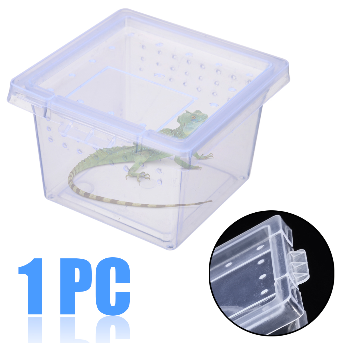 6.8*4.5*5.5cm Plastic Reptiles Box Clear Insect Terrarium Transport Breeding Live Food Feeding Box