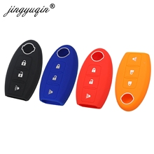 jingyuqin 30pcs/lot Silicone Key Case For Nissan Maxima Altima Teana Tiida Sylphy Sunny X-Trail 3 Buttons Smart Car key Cover