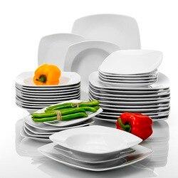 MALACASA серии JULIA 36-Piece фарфоровый столовый сервиз для супа десертные тарелки для 12 человек