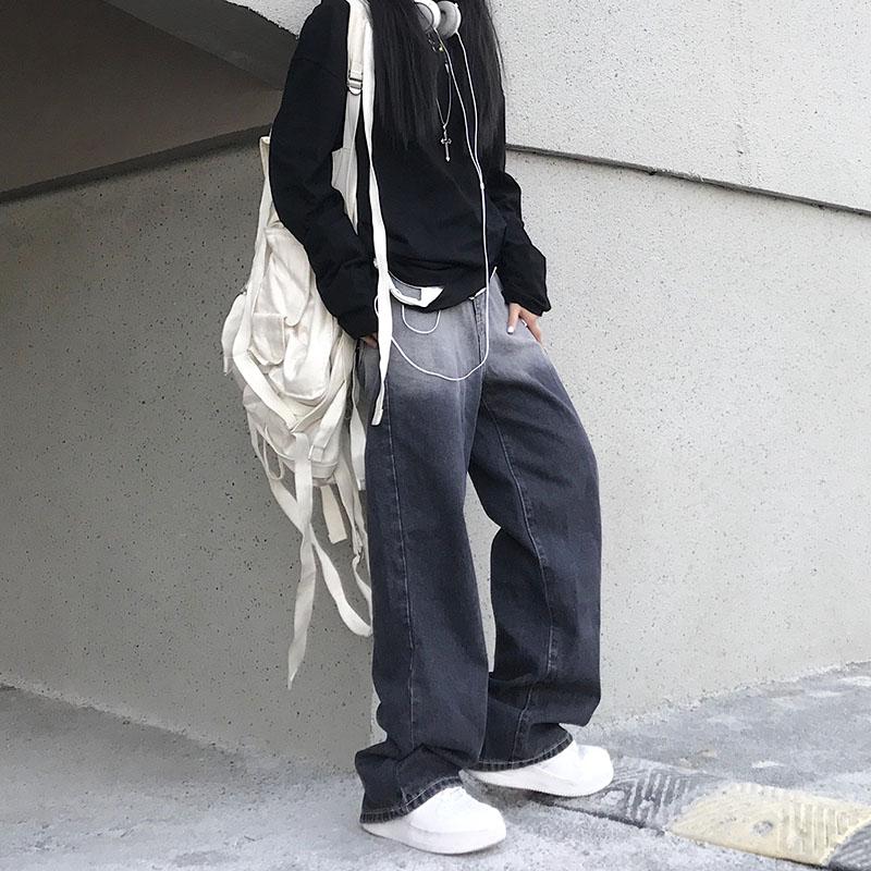 Woman Jeans High Waist Clothes Wide Leg Denim Clothing Blue Streetwear Vintage Quality 2021 Fashion Harajuku Straight Pants 2